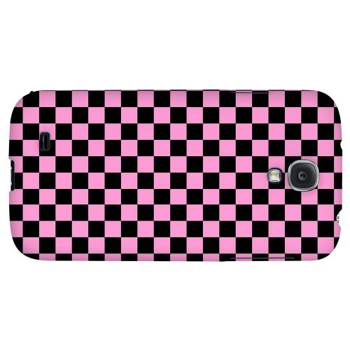 Pink/ Black - Geeks Designer Line Checker Series Hard Back Case for Samsung Galaxy S4