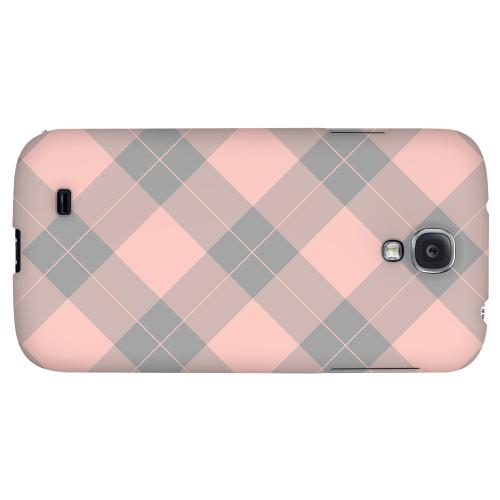 Pink/ Gray Simple Plaid - Geeks Designer Line Checker Series Hard Back Case for Samsung Galaxy S4