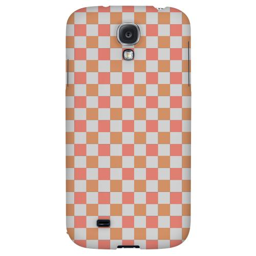 Pink/ Peach - Geeks Designer Line Checker Series Hard Back Case for Samsung Galaxy S4