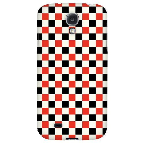 Red/ Black on Cream - Geeks Designer Line Checker Series Hard Back Case for Samsung Galaxy S4