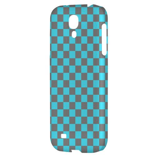 Teal/ Gray - Geeks Designer Line Checker Series Hard Back Case for Samsung Galaxy S4