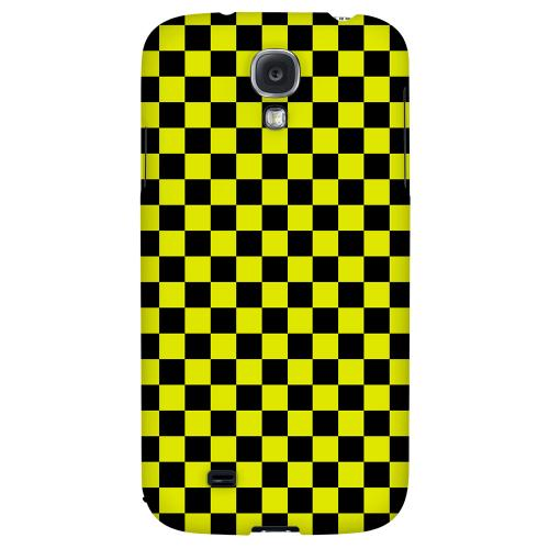 Yellow/ Black - Geeks Designer Line Checker Series Hard Back Case for Samsung Galaxy S4