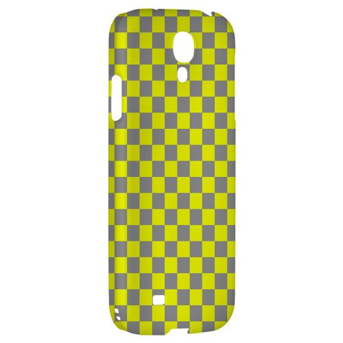 Yellow/ Gray - Geeks Designer Line Checker Series Hard Back Case for Samsung Galaxy S4