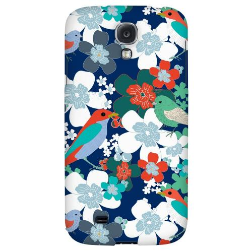 Birds & Flowers on Blue/ Red - Geeks Designer Line Floral Series Hard Back Case for Samsung Galaxy S4