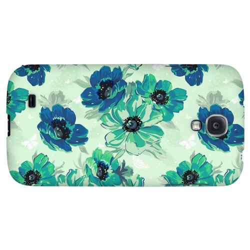 Blue/ Green Floral - Geeks Designer Line Floral Series Hard Back Case for Samsung Galaxy S4