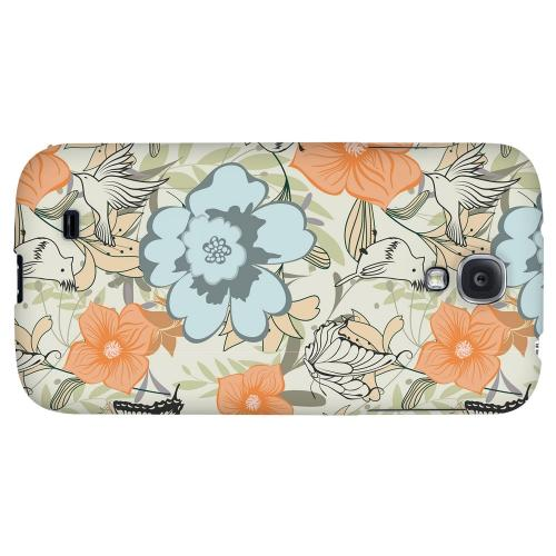 Butterflies & Birds on Orange/ Blue - Geeks Designer Line Floral Series Hard Back Case for Samsung Galaxy S4