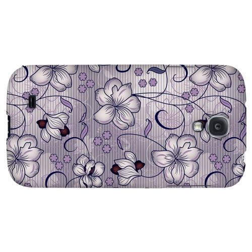 Floral Stripes Hint of Purple - Geeks Designer Line Floral Series Hard Back Case for Samsung Galaxy S4