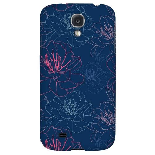Flower Outline on Blue - Geeks Designer Line Floral Series Hard Back Case for Samsung Galaxy S4