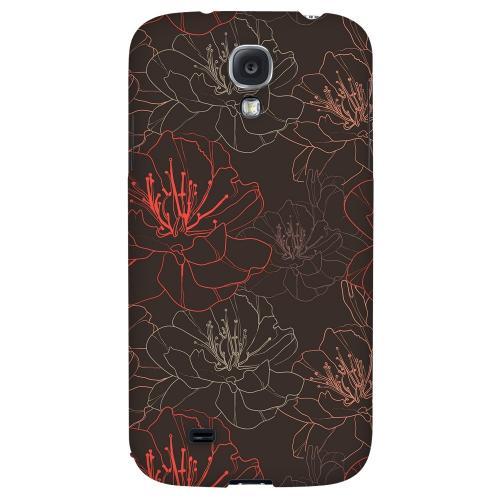 Flower Outline on Brown - Geeks Designer Line Floral Series Hard Back Case for Samsung Galaxy S4