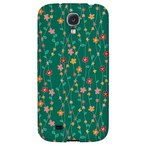 Flowers & Vines on Green - Geeks Designer Line Floral Series Hard Back Case for Samsung Galaxy S4