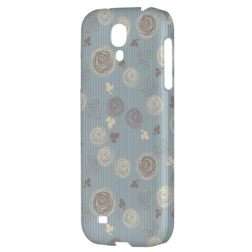 Leaves Scribble Blue/ Brown - Geeks Designer Line Floral Series Hard Back Case for Samsung Galaxy S4