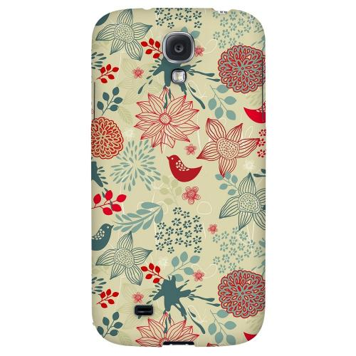 Lovebird Floral Splatter - Geeks Designer Line Floral Series Hard Back Case for Samsung Galaxy S4