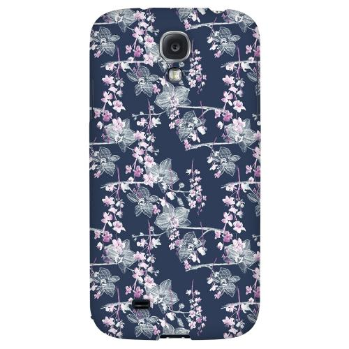 Pink/ White Floral on Blue - Geeks Designer Line Floral Series Hard Back Case for Samsung Galaxy S4