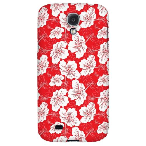 White Hibiscus on Red - Geeks Designer Line Floral Series Hard Back Case for Samsung Galaxy S4