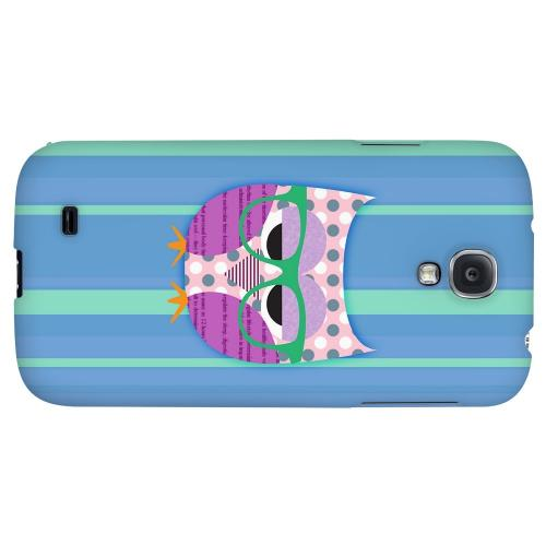 Hipster Owl on Blue/Green Stripes - Geeks Designer Line Owl Series Hard Back Case for Samsung Galaxy S4