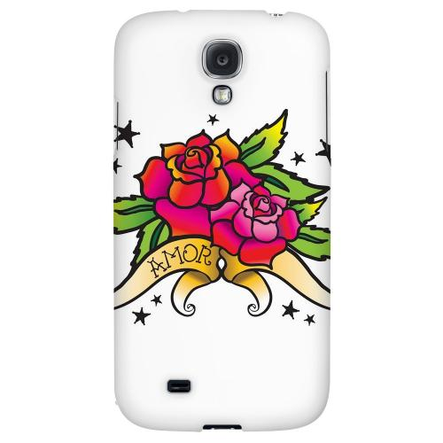 Amor Rose - Geeks Designer Line Tattoo Series Hard Back Case for Samsung Galaxy S4