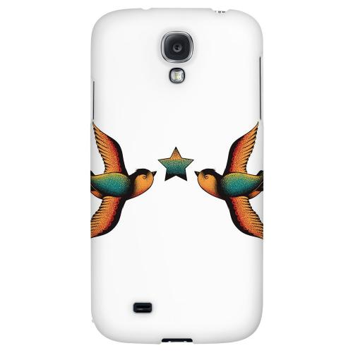 Dual Swallow Star on White - Geeks Designer Line Tattoo Series Hard Back Case for Samsung Galaxy S4