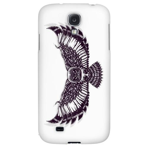 Flying Owl on White - Geeks Designer Line Tattoo Series Hard Back Case for Samsung Galaxy S4
