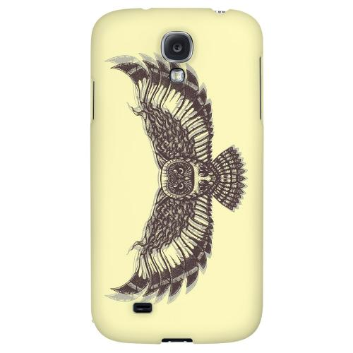 Flying Owl on Yellow - Geeks Designer Line Tattoo Series Hard Back Case for Samsung Galaxy S4