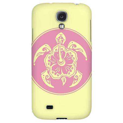 Pink Island Turtle Solo on Yellow - Geeks Designer Line Tattoo Series Hard Back Case for Samsung Galaxy S4