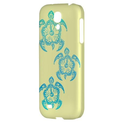 Blue Island Turtle Trail on yellow - Geeks Designer Line Tattoo Series Hard Back Case for Samsung Galaxy S4