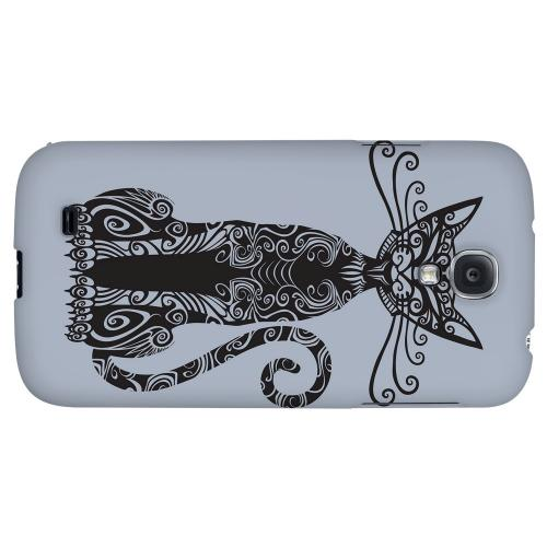 Kitty Nouveau on Blue/ Gray - Geeks Designer Line Tattoo Series Hard Back Case for Samsung Galaxy S4