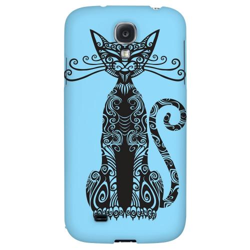 Kitty Nouveau on Light Blue - Geeks Designer Line Tattoo Series Hard Back Case for Samsung Galaxy S4