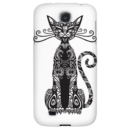 Kitty Nouveau on White - Geeks Designer Line Tattoo Series Hard Back Case for Samsung Galaxy S4