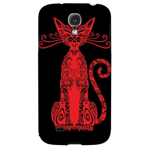 Red Kitty Nouveau on Black - Geeks Designer Line Tattoo Series Hard Back Case for Samsung Galaxy S4