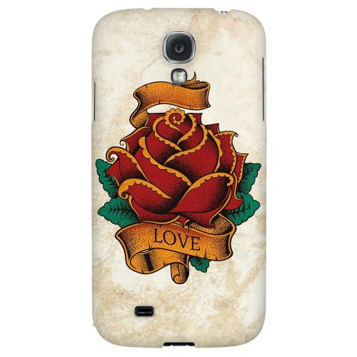 Love Rose - Geeks Designer Line Tattoo Series Hard Back Case for Samsung Galaxy S4