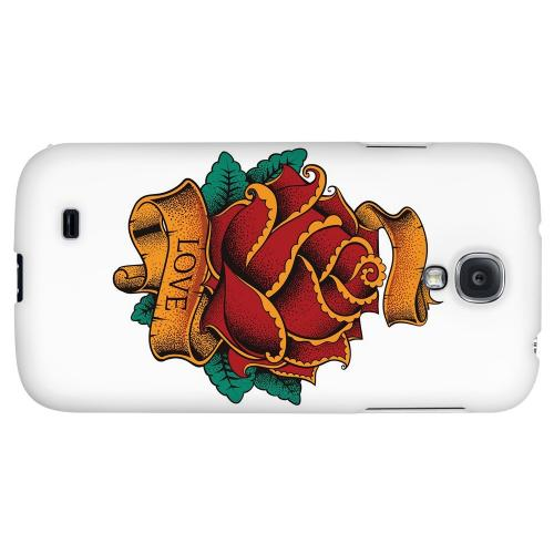 Love Rose on White - Geeks Designer Line Tattoo Series Hard Back Case for Samsung Galaxy S4
