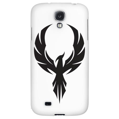 Black Phoenix on White - Geeks Designer Line Tattoo Series Hard Back Case for Samsung Galaxy S4