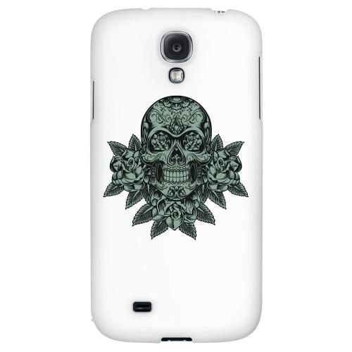 Skull Roses Aqua - Geeks Designer Line Tattoo Series Hard Back Case for Samsung Galaxy S4