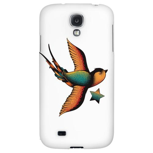 Swallow Star on White - Geeks Designer Line Tattoo Series Hard Back Case for Samsung Galaxy S4