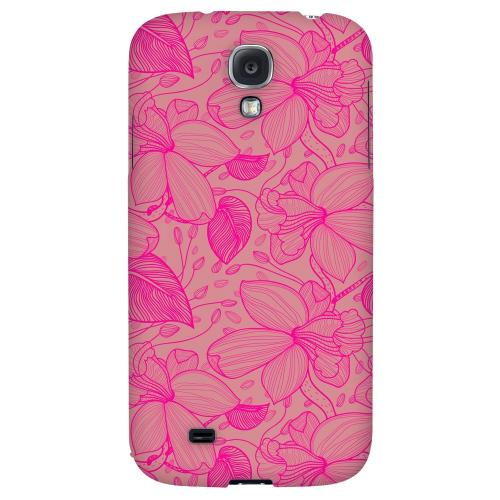 Pink on Pink Orchid Lines - Geeks Designer Line Floral Series Hard Back Case for Samsung Galaxy S4