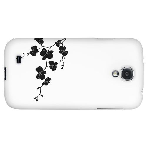 Clean Solid Black Orchid Art - Geeks Designer Line Floral Series Hard Back Case for Samsung Galaxy S4