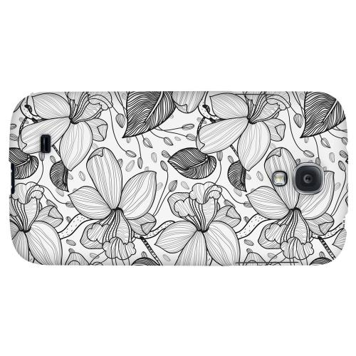 Black on White Orchid Lines - Geeks Designer Line Floral Series Hard Back Case for Samsung Galaxy S4