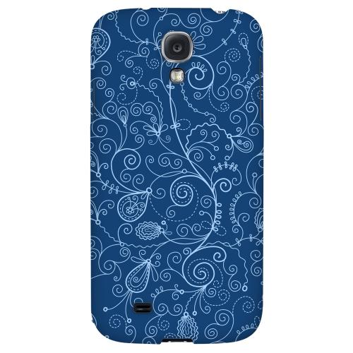 Floral 1 Monaco Blue - Geeks Designer Line Pantone Color Series Hard Back Case for Samsung Galaxy S4