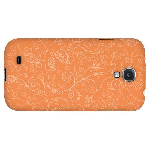 Floral 1 Nectarine - Geeks Designer Line Pantone Color Series Hard Back Case for Samsung Galaxy S4