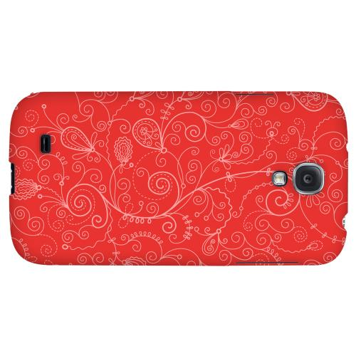 Floral 1 Poppy Red - Geeks Designer Line Pantone Color Series Hard Back Case for Samsung Galaxy S4