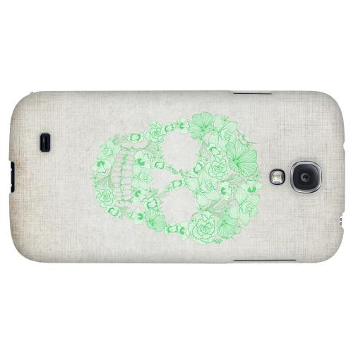 Floral Green Skull on Canvas - Geeks Designer Line Skull Series Hard Back Case for Samsung Galaxy S4