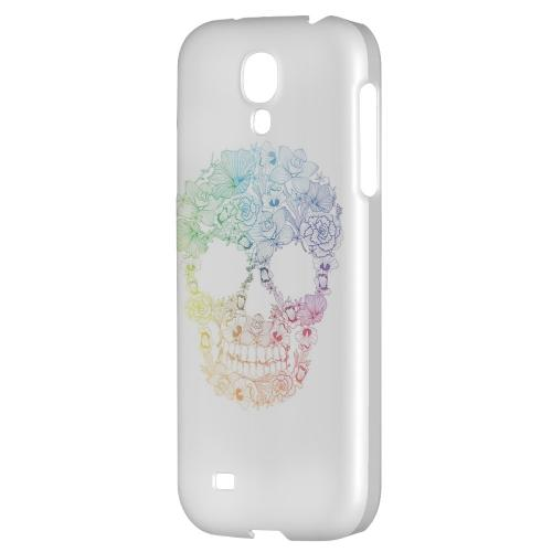 Floral Rainbow Skull on White - Geeks Designer Line Skull Series Hard Back Case for Samsung Galaxy S4