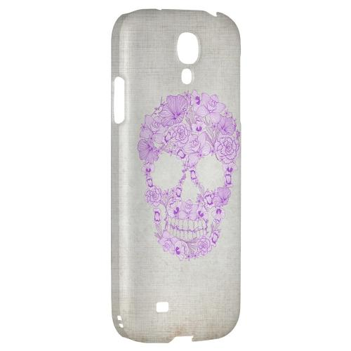 Floral Violet Skull on Canvas - Geeks Designer Line Skull Series Hard Back Case for Samsung Galaxy S4