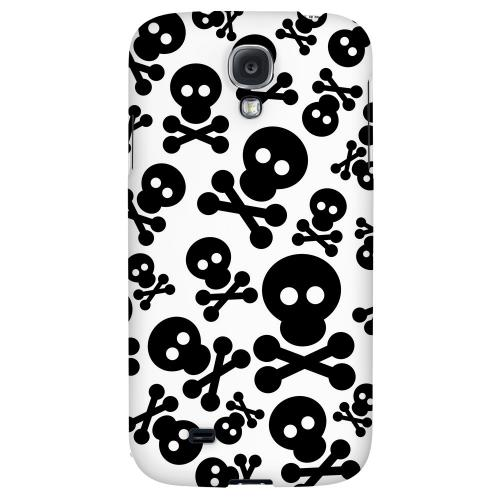 Skull Face Invasion Black on White - Geeks Designer Line Skull Series Hard Back Case for Samsung Galaxy S4
