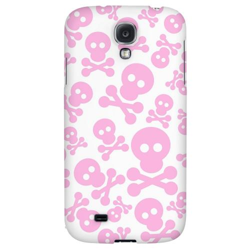 Skull Face Invasion Pink on White - Geeks Designer Line Skull Series Hard Back Case for Samsung Galaxy S4