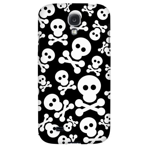 Skull Face Invasion White on Black - Geeks Designer Line Skull Series Hard Back Case for Samsung Galaxy S4