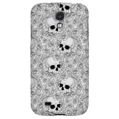 Thorn Skull Black White Halftone - Geeks Designer Line Skull Series Hard Back Case for Samsung Galaxy S4