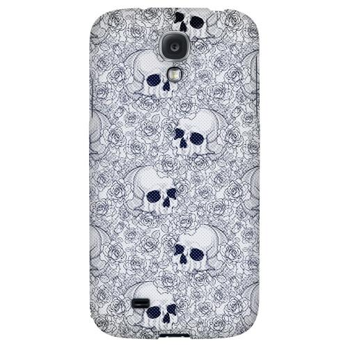 Thorn Skull Blue Halftone - Geeks Designer Line Skull Series Hard Back Case for Samsung Galaxy S4