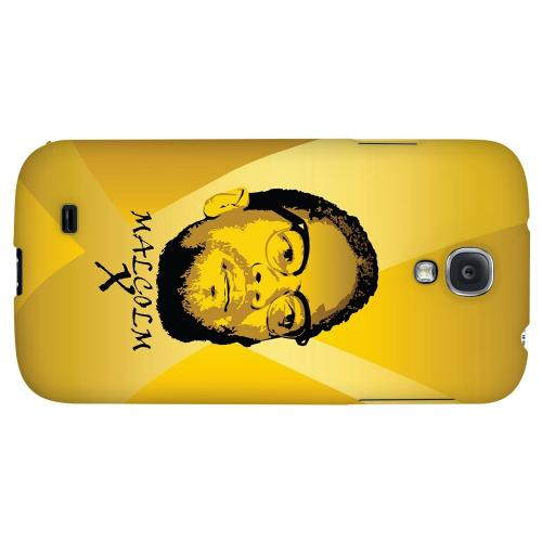Malcolm X in the Middle on Yellow - Geeks Designer Line Revolutionary Series Hard Back Case for Samsung Galaxy S4
