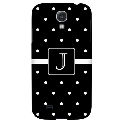 Monogram J on Classic Mini Polka Dots - Geeks Designer Line Monogram Series Hard Back Case for Samsung Galaxy S4